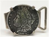 1891 MORGAN COIN IN BELT BUCKLE